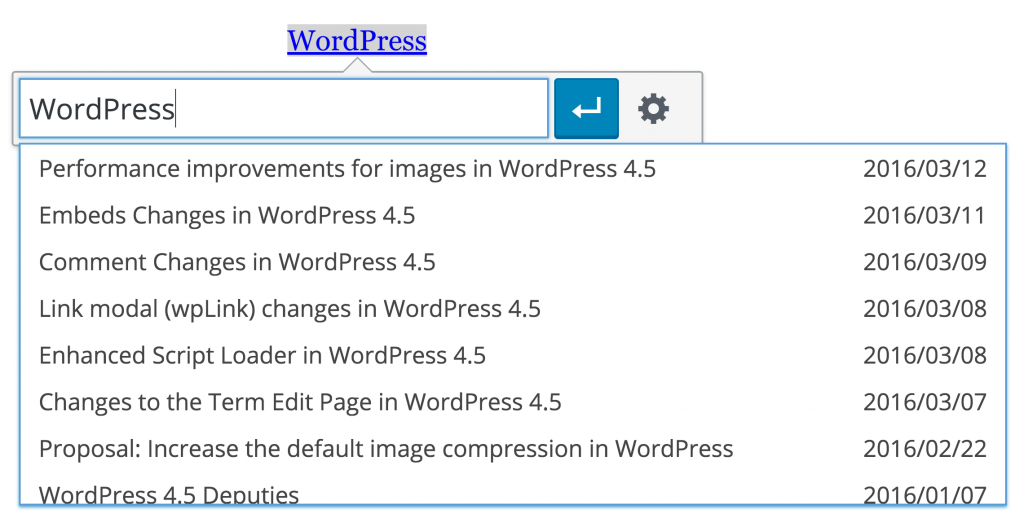 WordPress Inline-Toolbar zum Link-Editieren