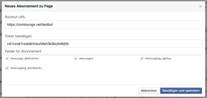 Setup der Facebook Messenger Webhooks