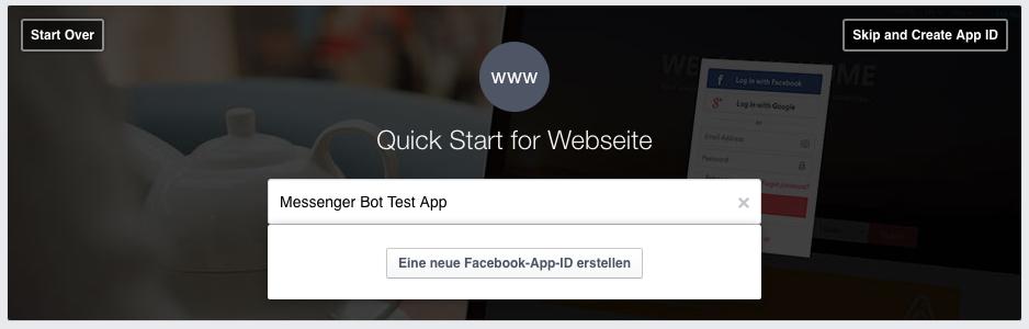 Facebook Messenger-Bot: App erstellen