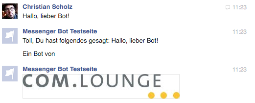 Messenger Bot Beispiel: Antwort mit Text und Bild