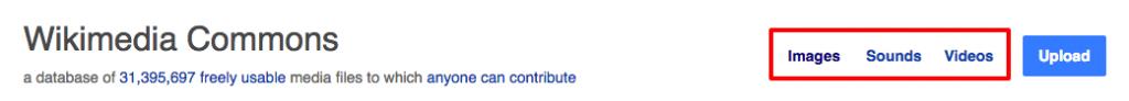 Wikimedia Commons: Zunächst muss man die Medienart neben der Überschrift wählen