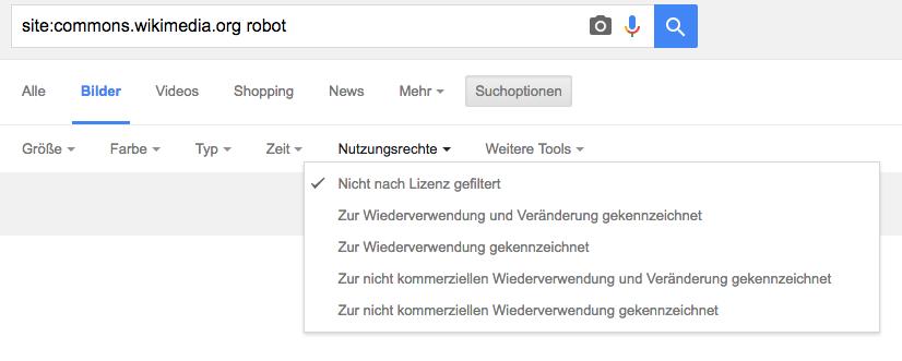 Google: Nutzungsrechte selektieren