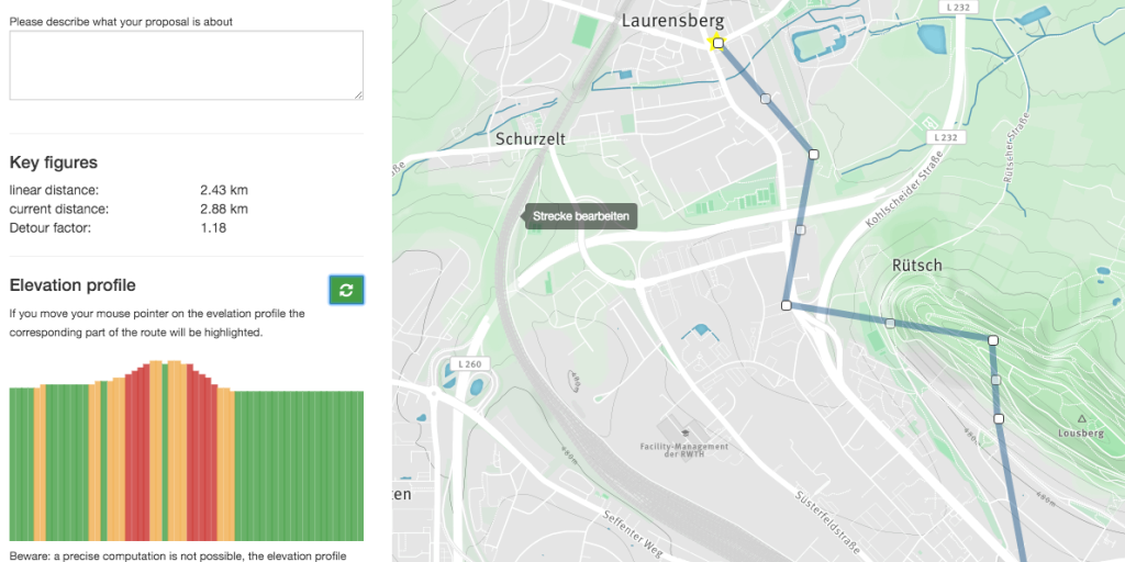 Streckenvorschläge für den Radschnellweg Aachen
